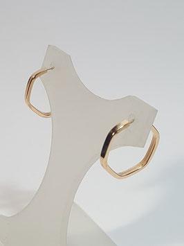 Brincos ouro argola hexagonal fio quadrado 14.1,7- MM