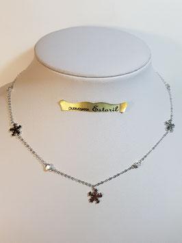 Fio prata 2 zircónias + 3 cristais - AU