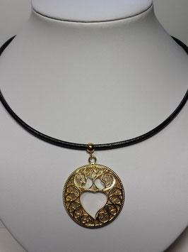 Fio prata dourada com medalha filigrana Coração Viana