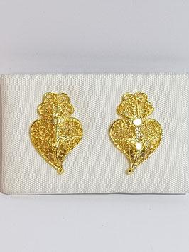 Brincos prata coração de Viana Prata 17 dourados - DB