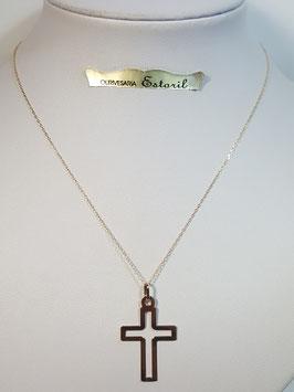 Fio ouro cadeado fino com cruz aberta 26 - MM
