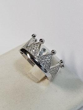 Anel em prata coroa de zircónias - AN