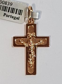 Cruz em ouro chapa de cantos quadrados com Cristo 20.14.4 - JPS