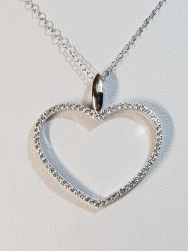 Fio prata com coração aberto de zircónias - JCC