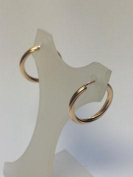 Brincos ouro argola fio redondo torcido 14x1,8 - AR