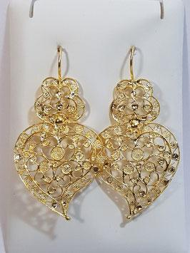 Brincos prata dourada Coração de Viana 45.37 rodas - AN