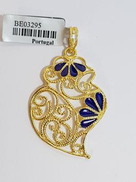 Coração de Viana de filigrana em prata dourada 40.30 esmalte az - AN