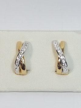 Brinco ouro 1/2 argola bicolor cruzada com 7 zircónias - IGL
