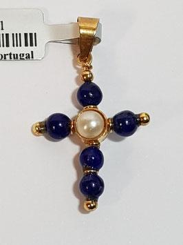 Cruz em Ouro e Bolas Lápis Lazuli e Pérola 4mms
