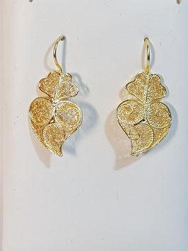 Brincos prata coração de Viana 25.20 dourados - DB