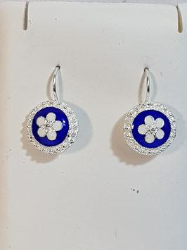 Brincos prata com flor de esmalte azul 20.12 - DB