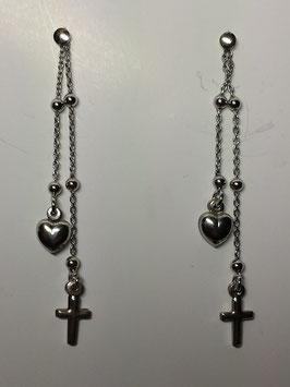 Brincos prata coração e cruz suspensos