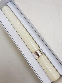 Vela de baptismo redonda lisa com argola de frisos em prata 20.31 - PP