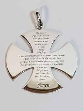 Cruz dos Templários em Prata com Oração do Pai Nosso - PP