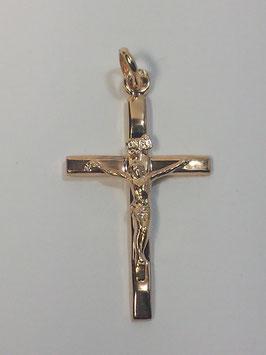 Cruz em ouro de fio rectangular com cristo