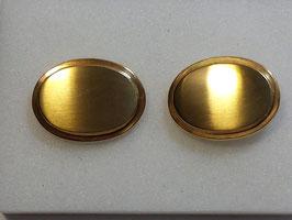 Botão de Punho Ouro - Oval Escovado Moldura