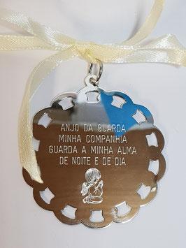 Medalha rendada com gravação de oração e anjo - JCC