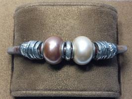 Pulseira prata canevões  e pérolas de cultura Eugénio Campos