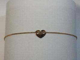 Pulseira em ouro 9Kts - barbela lapidada com coração - AR