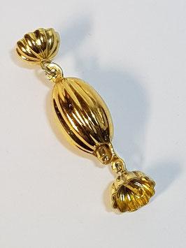 Fecho Colar Prata Dourada Estriado - FE00085