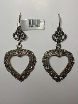 Brincos em prata  e marcassitas coração suspenso