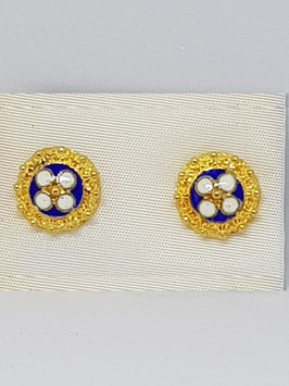 Brincos filigrana prata dourada caramujo azul - abDB