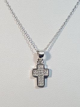 Fio prata cruz larga zircónias - RR/PP