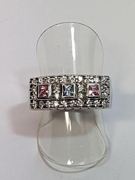 Anel em prata rectangular com zircónias rosa/azul