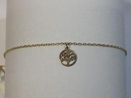 Pulseira em ouro 9Kts - cadeado com medalha árvore da vida - AR