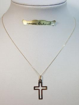 Fio ouro cadeado fino com cruz aberta 22 - MM