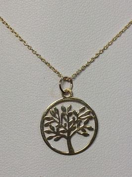Fio Ouro 9kts com medalha e árvore da vida recortada