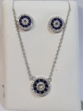 Fio e brincos em prata com roda de zircónias brancas e azul safira - AU