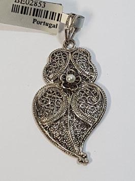 Coração de Viana de filigrana em prata com flor 30.24 - AN