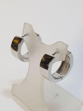 Brincos prata argolas lisas com charneira 15.8 - RR