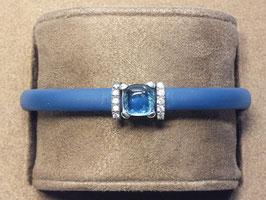 Pulseira borracha, prata e pedra azul - Eugénio Campos