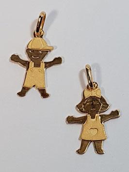 Berloque menina e menino em ouro - 17 AR
