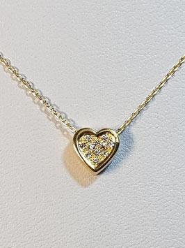Fio ouro branco malha cadeado com coração de zircónias