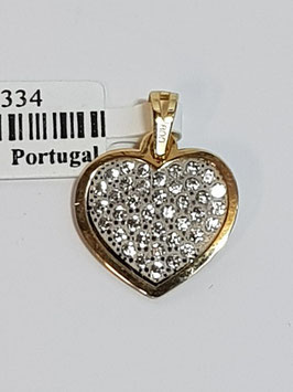Coração ouro bicolor com zircónias - IGL