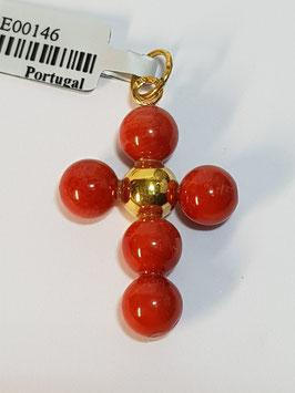 Cruz em Ouro e Bolas Coral 6mms