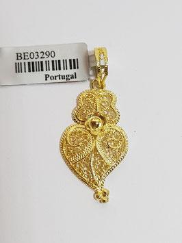 Coração de Viana de filigrana em prata dourada com flor 30.22 - AN