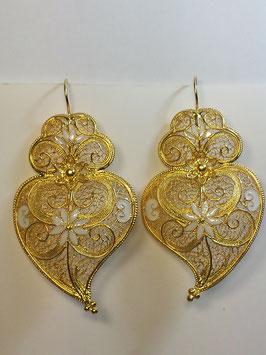 Brincos em prata Coração de Viana 55.65 - dourado esmalte branco