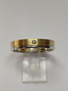 Aliança bicolor onda 4 com Diamante cravado 2240B