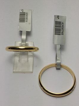Aliança ouro, 1/2 Cana 2,5x1,5mms - 14