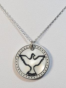 Fio prata manga com medalha dupla pomba recortada ESº - CAD