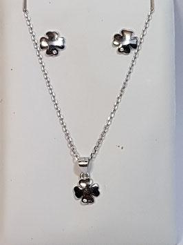 Fio e brincos em prata com trevo - AU