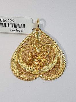 Coração de filigrana invertido em prata dourada 25.30 - Pestana / Borboleta - AN