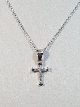 Fio prata cruz zircónias pontas lisas - RR/PP