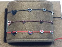 Pulseira de seda com 4 corações prata VITTA