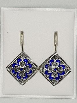 Brincos filigrana prata, azulejo com esmalte - FM