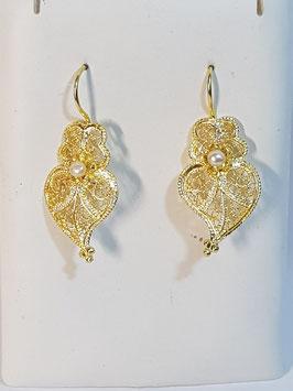 Brincos prata dourada Coração de Viana 22.30 com pérola - AN
